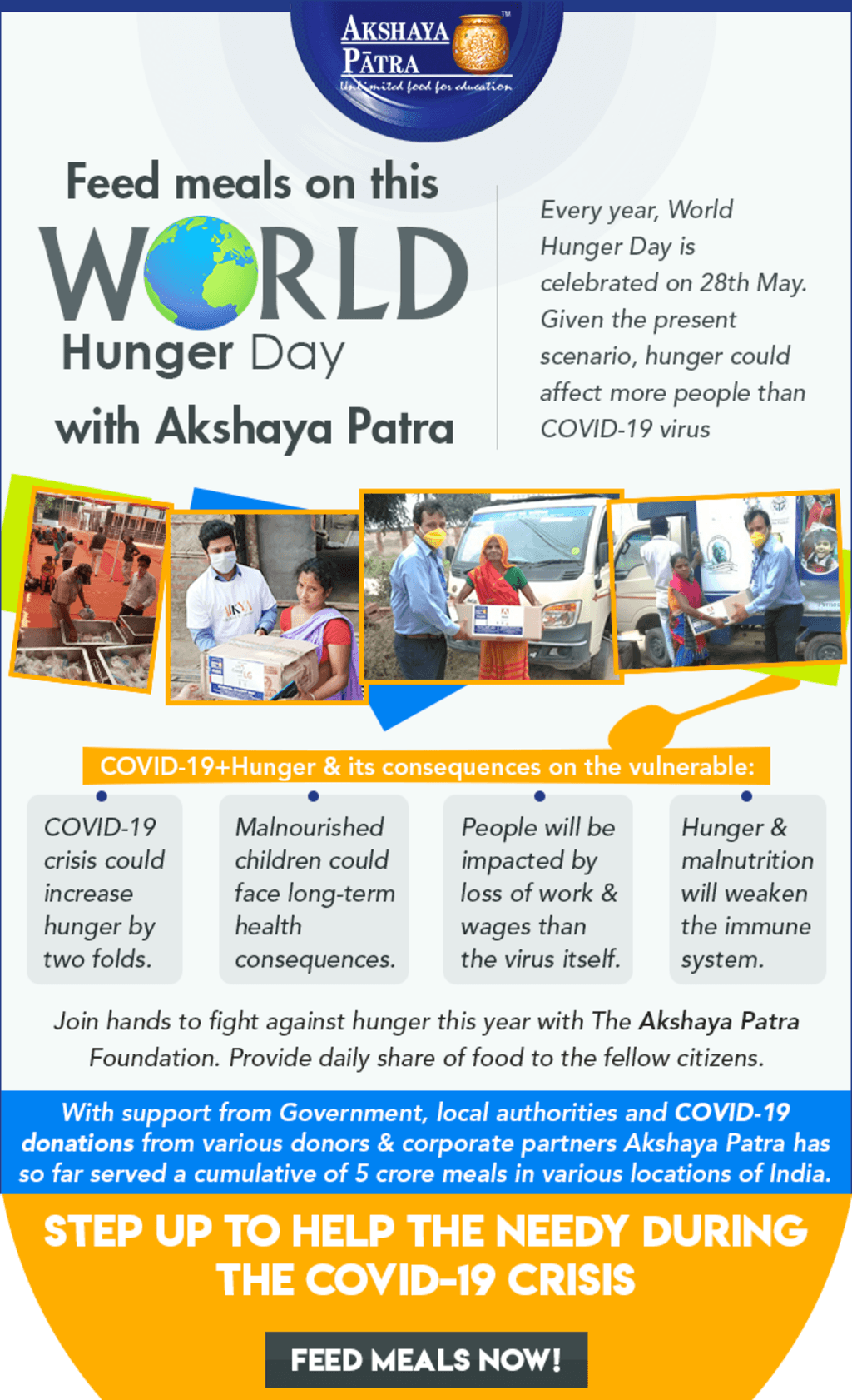 Donate on this World Hunger Day   Join the COVID-19 Food Rel... via Akshaya Patra