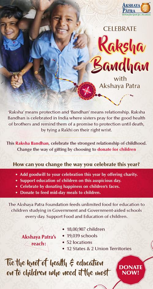 Celebrate Raksha Bandhan with Akshaya Patra via Akshaya Patra