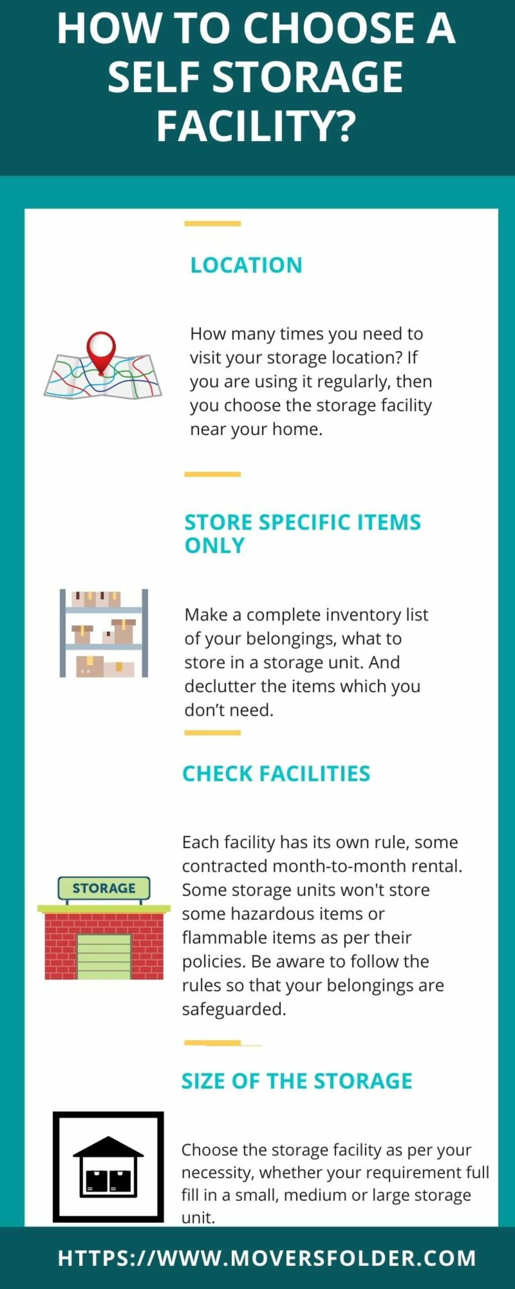 How to Choose a Self Storage Facility? via MoversFolder.com