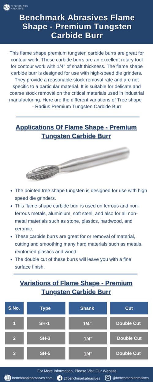 Flame Shape Premium Tungsten Carbide Burrs via Jacob