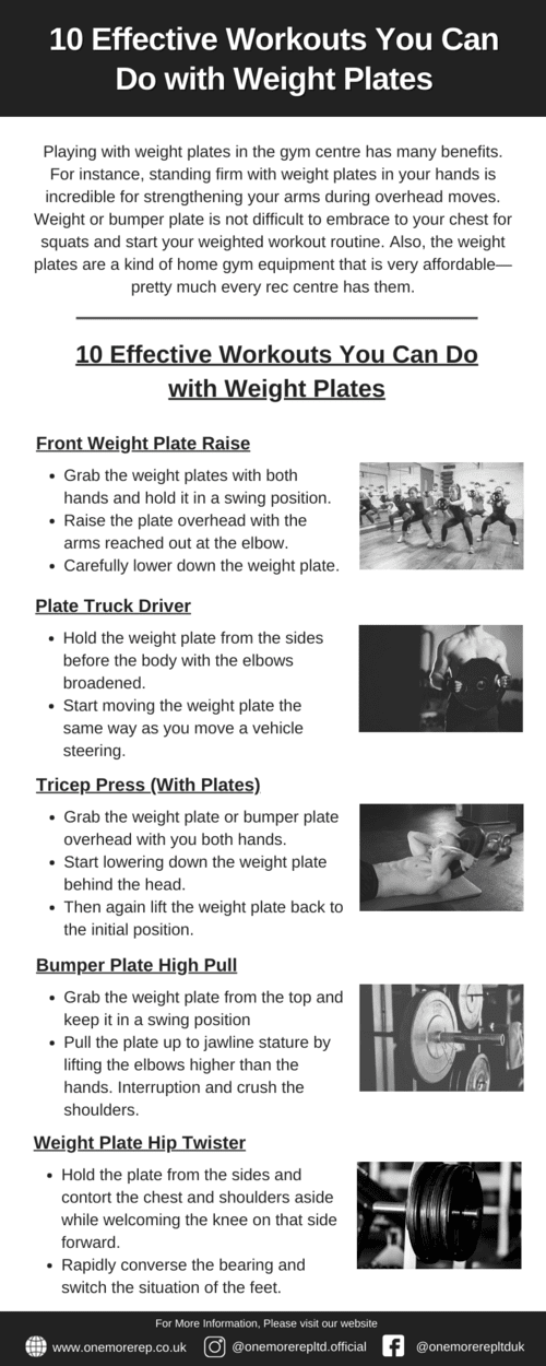 10 Effective Workouts You Can Do with Weight Plates via OneMoreRep